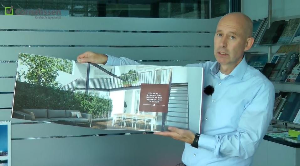 Groot presentatieboek vastgoed gebonden met garen